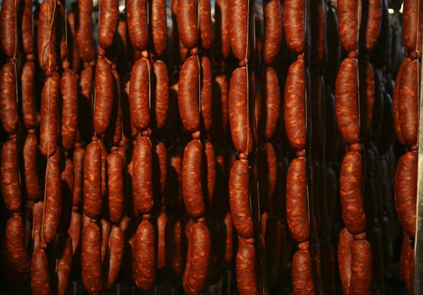 Chorizos elaborados a la manera tradicional.