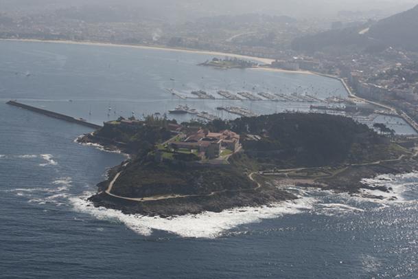 Vista aérea de la fortaleza del Parador de Turismo de Baiona.