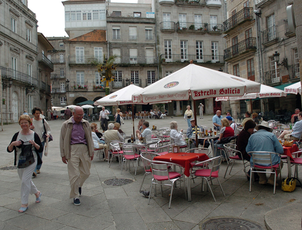 Plaza de la Constitución, en el Casco Viejo, donde antiguamente tenía lugar el mercado.