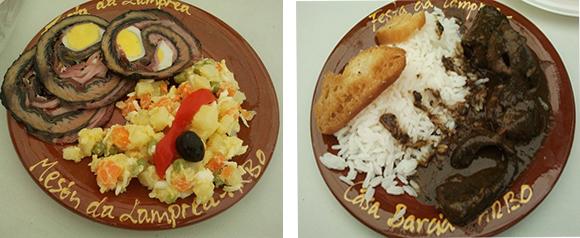 Lamprea rellena con ensaladilla rusa, y lamprea a la bordalesa con arroz.