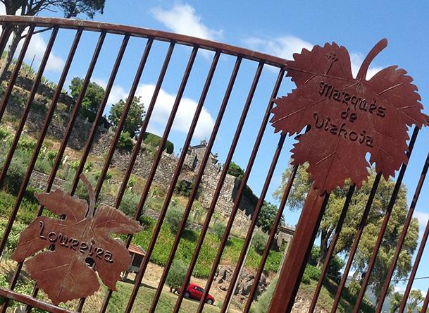 Puerta de entrada a la bodega Marqués de Vizhoja y a una parte de los viñedos.