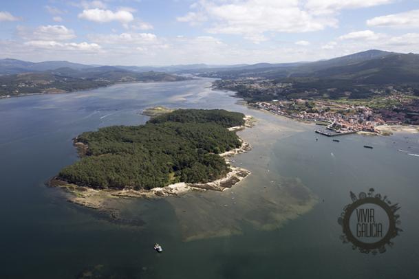 Vista aérea de la isla de Cortegada, en el fondo de la ría de Arousa.