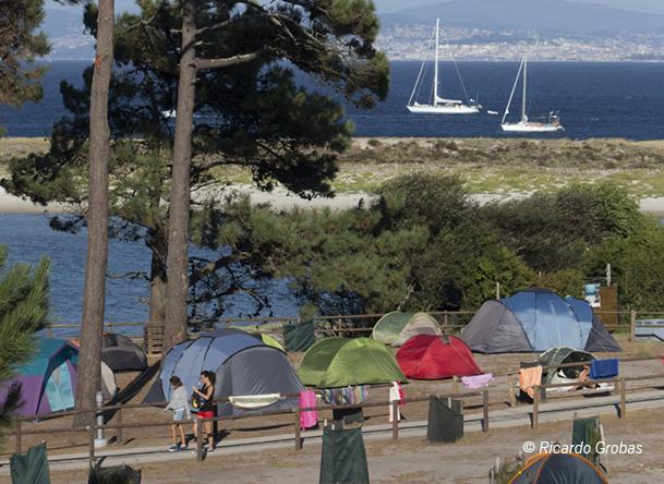 Camping de las islas Cíes, el único lugar para pernoctar en el archipiélago.