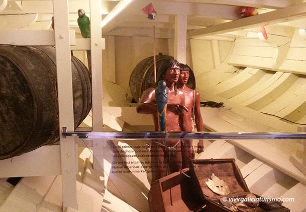 Dos figuras de indígenas traídos por Alonso Pinzón en La Pinta.