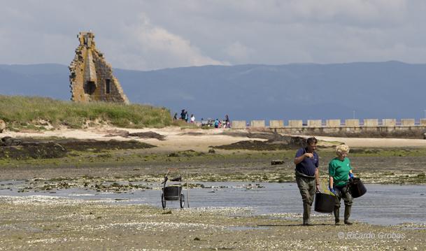 Con marea baja, la playa de O Sarrido se extiende hasta la torre de San Sadurniño, unida al barrio de Santo Tomé por un puente de piedra.