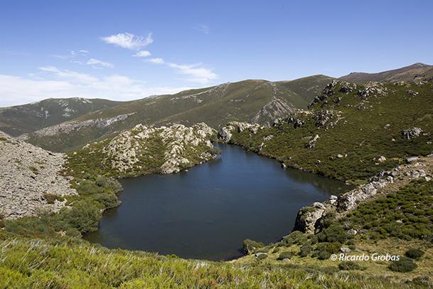 Laguna de A Serpe, con Pena Trevinca al fondo.
