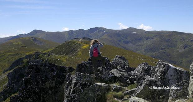 Desde el Pico Maluro, las cumbres del Macizo de Trevinca. De izquierda a derecha, Pena Trevinca (2.127 m), Pena Negra (2.116 m) y Pena Surbia